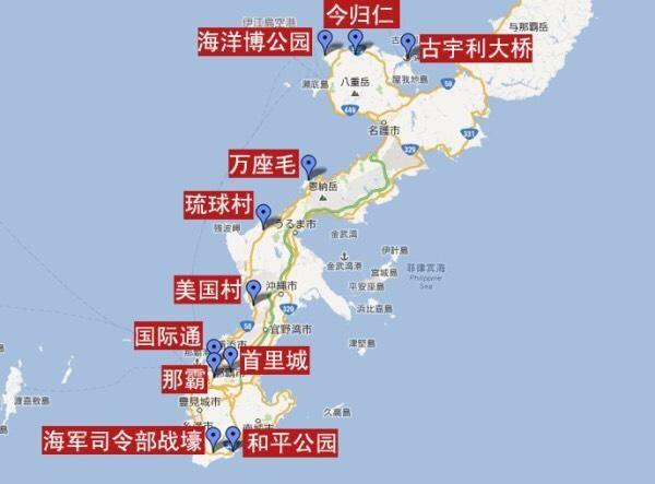 附上冲绳的景点地图,大家可以做参考