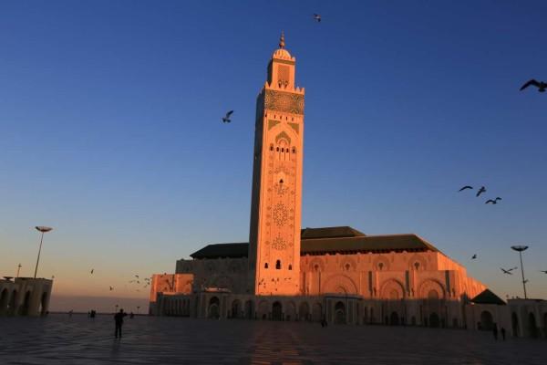 摩洛哥游记沙漠边的马拉喀什阳光下红的耀眼.
