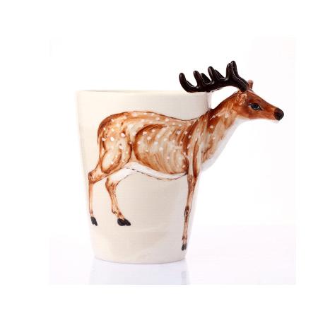 纯手绘3d陶瓷动物杯 马克杯—梅花鹿
