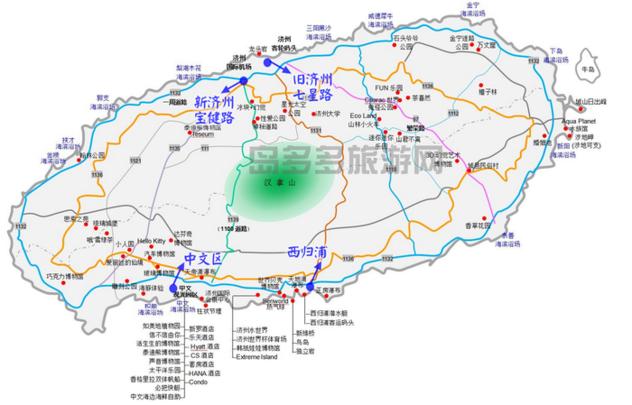济州岛爱唯尔酒店去各景点线路